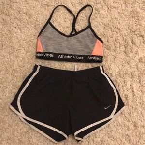 Athletic bra and shorts
